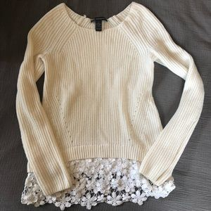 Cream knit sweater with lace accents